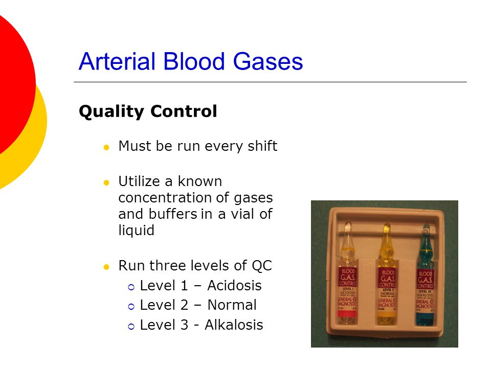 Arterial Blood Gases Quality Control Must be run every shift