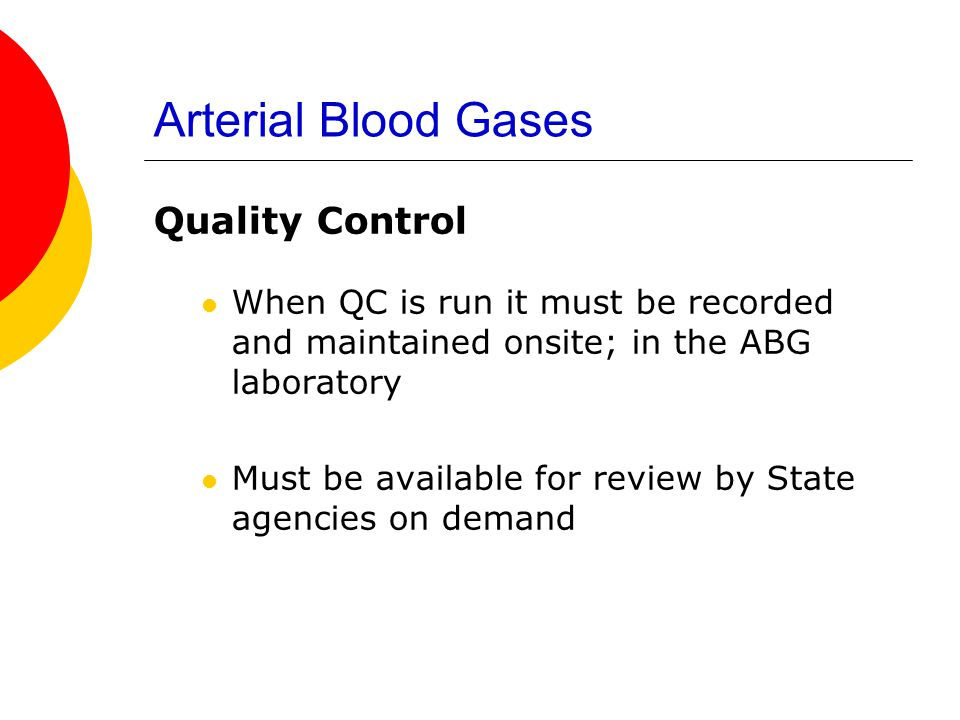 Arterial Blood Gases Quality Control
