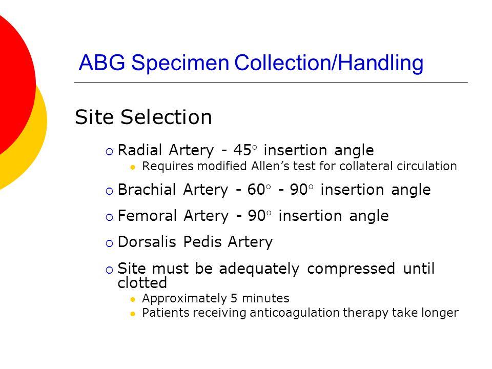 ABG Specimen Collection/Handling