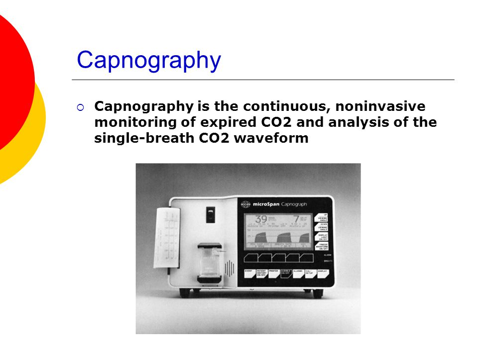 Capnography Capnography is the continuous, noninvasive monitoring of expired CO2 and analysis of the single-breath CO2 waveform.