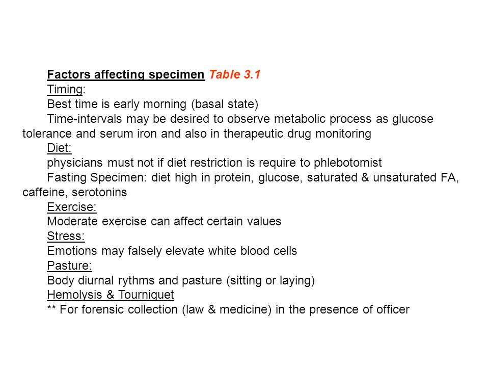 Factors affecting specimen Table 3.1