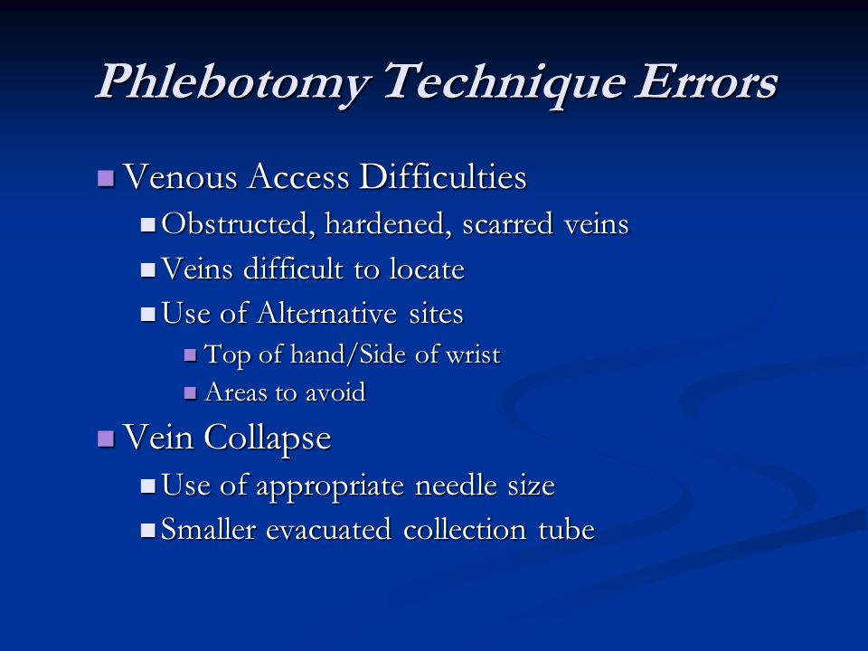 Phlebotomy Technique Errors