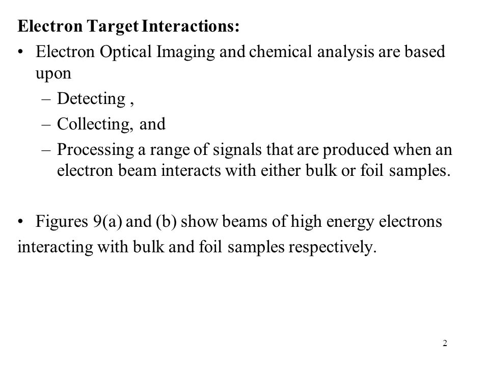 Electron Target Interactions: