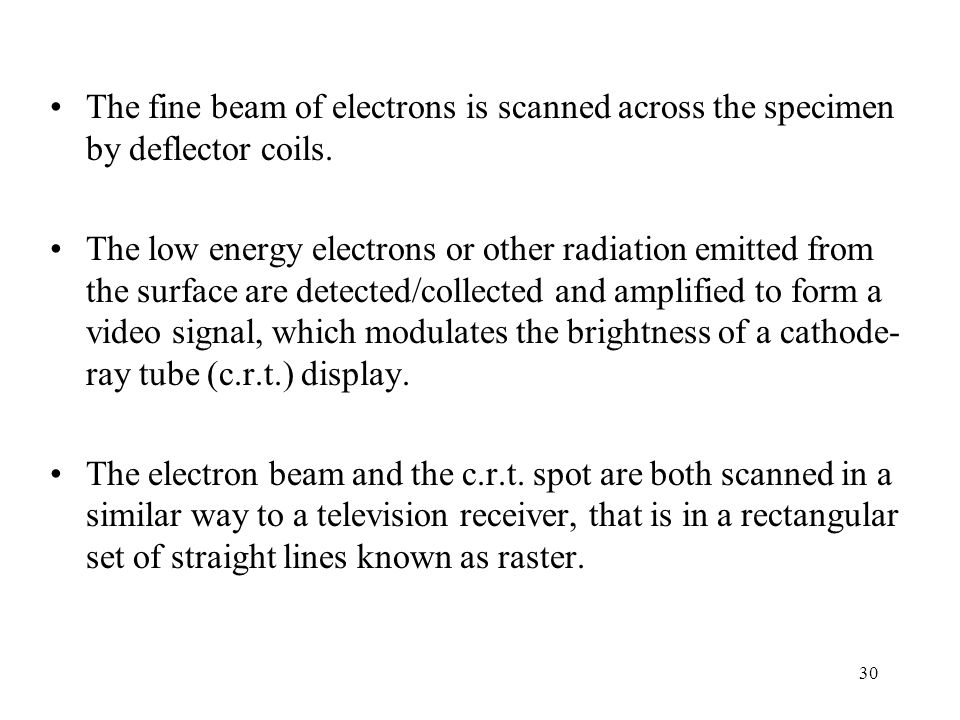 The fine beam of electrons is scanned across the specimen by deflector coils.