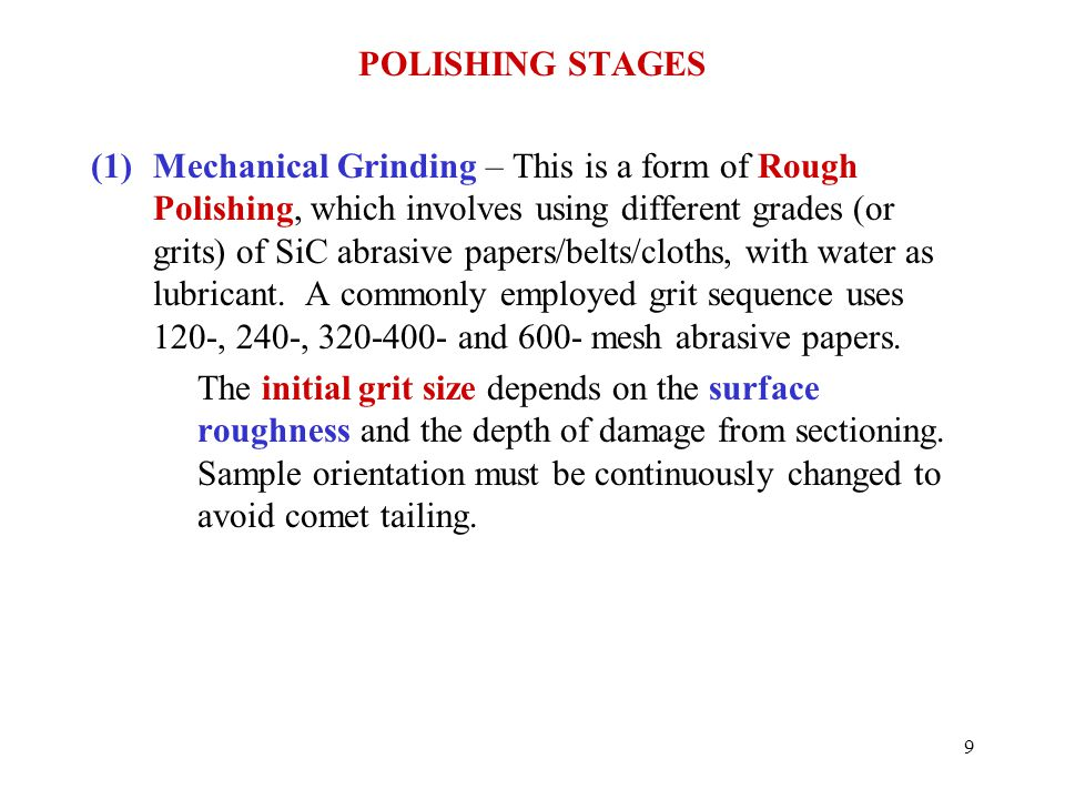 POLISHING STAGES