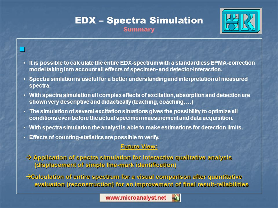 EDX – Spectra Simulation Summary