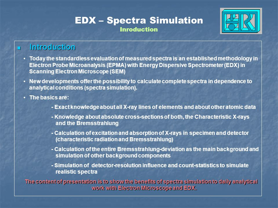 EDX – Spectra Simulation Inroduction