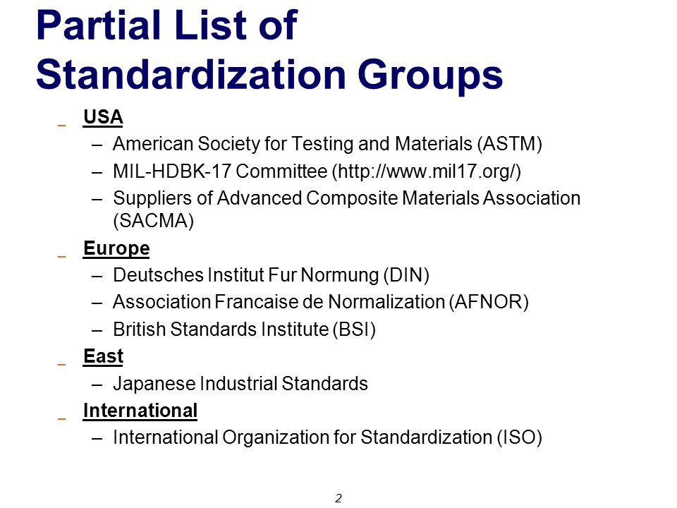 Partial List of Standardization Groups