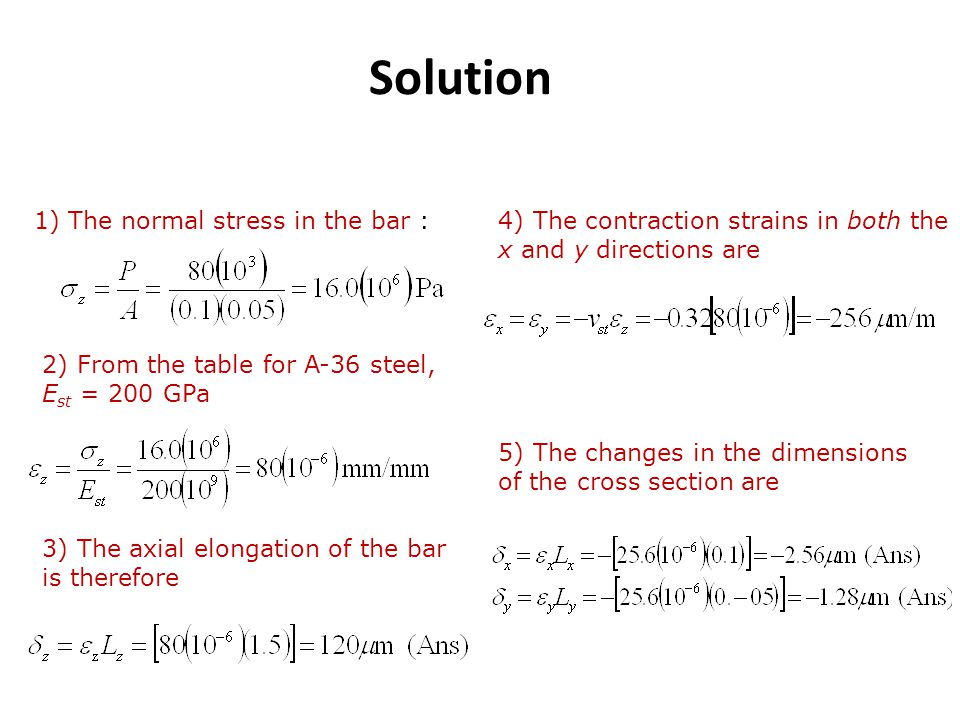 Solution 1) The normal stress in the bar :