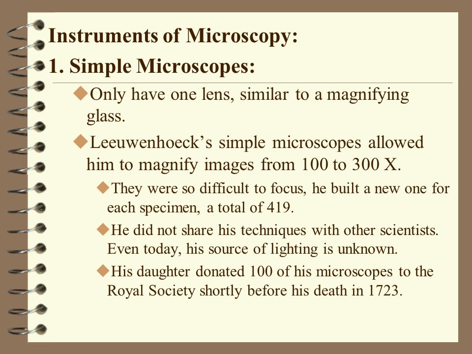 Instruments of Microscopy: 1. Simple Microscopes: