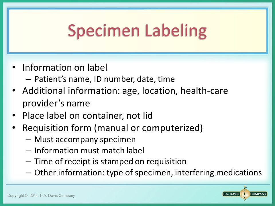Specimen Labeling Information on label