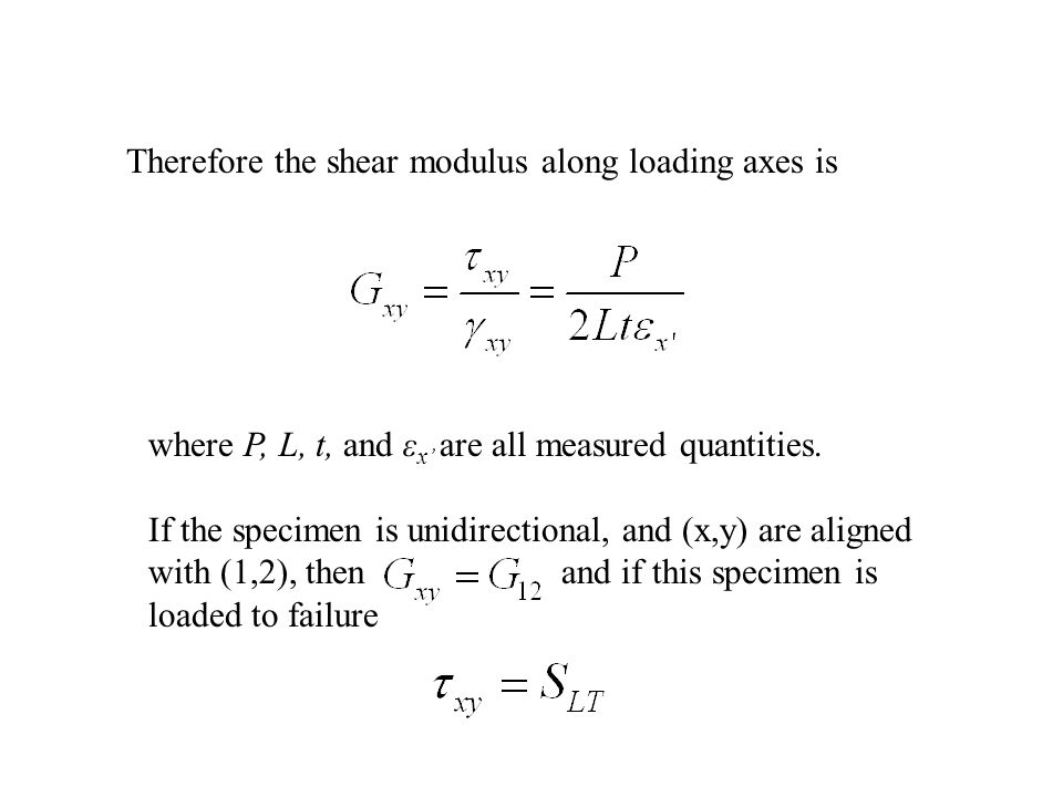 Therefore the shear modulus along loading axes is