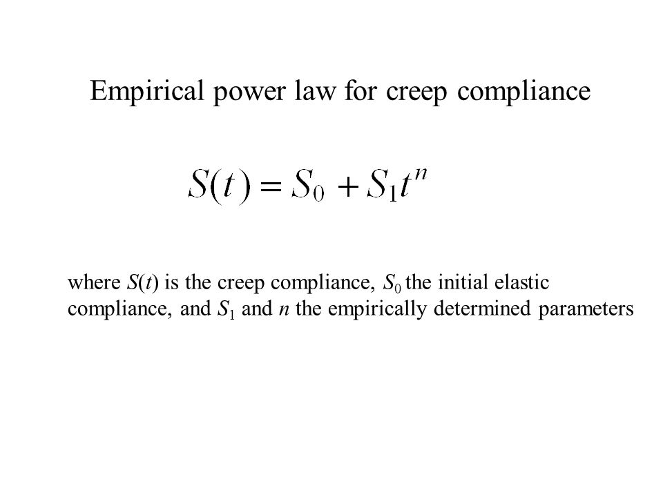 Empirical power law for creep compliance