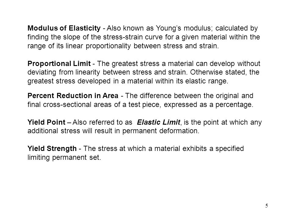 Modulus of Elasticity - Also known as Young's modulus; calculated by finding the slope of the stress-strain curve for a given material within the range of its linear proportionality between stress and strain.