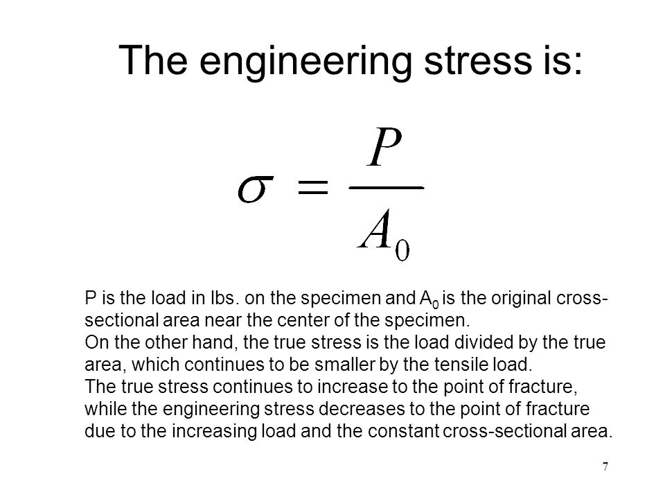 The engineering stress is: