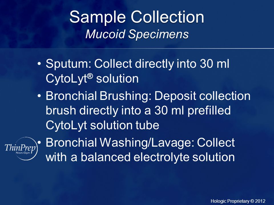 Sample Collection Mucoid Specimens