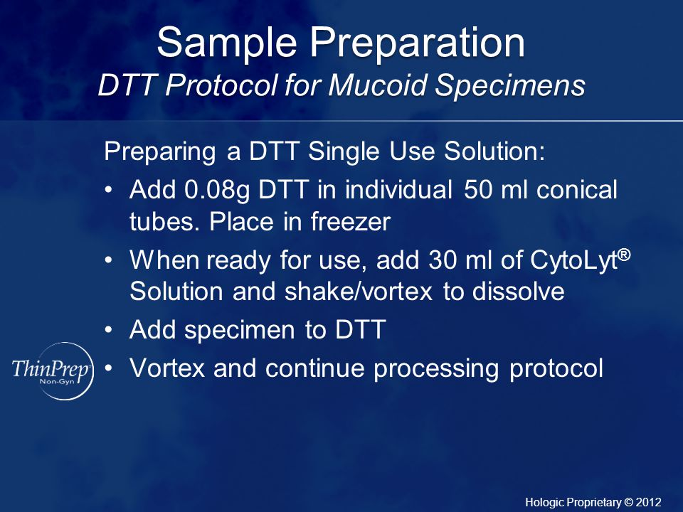 Sample Preparation DTT Protocol for Mucoid Specimens