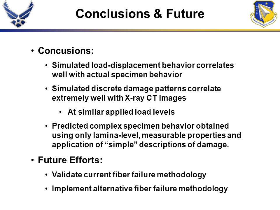 Conclusions & Future Concusions: Future Efforts:
