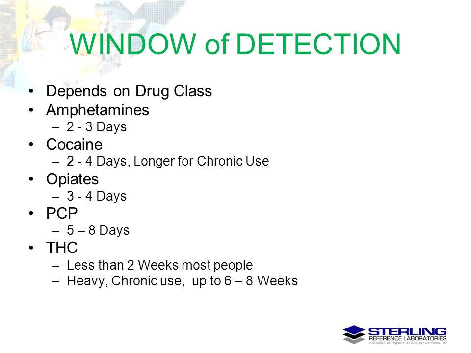WINDOW of DETECTION Depends on Drug Class Amphetamines Cocaine Opiates
