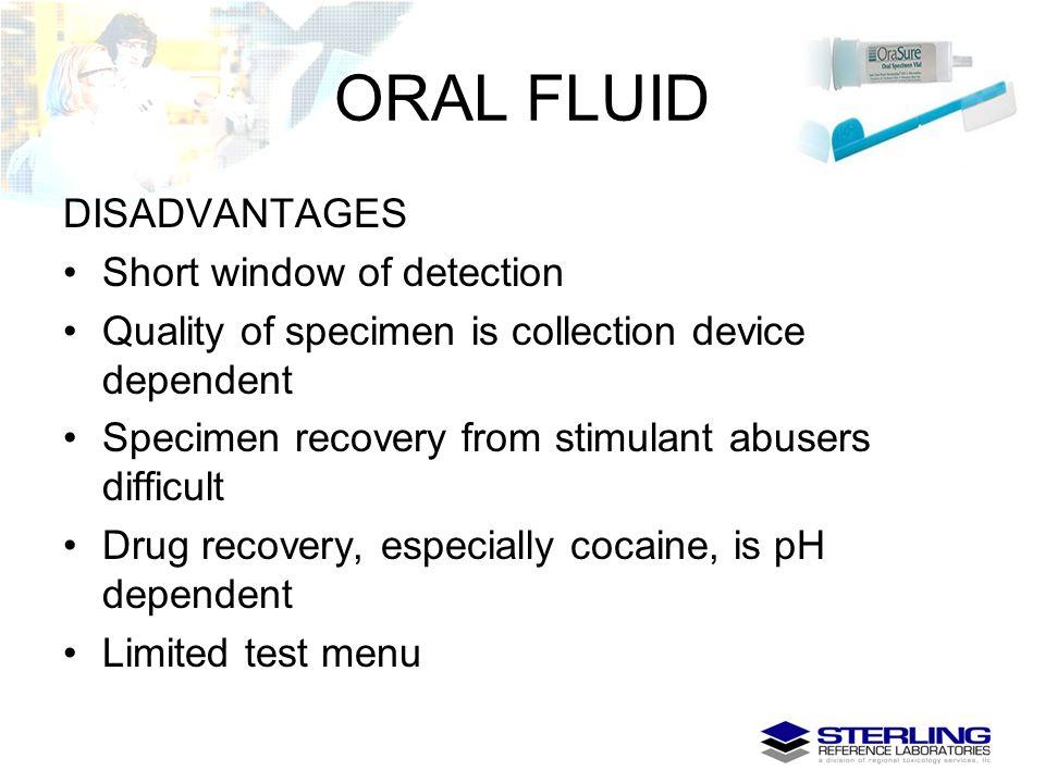 ORAL FLUID DISADVANTAGES Short window of detection
