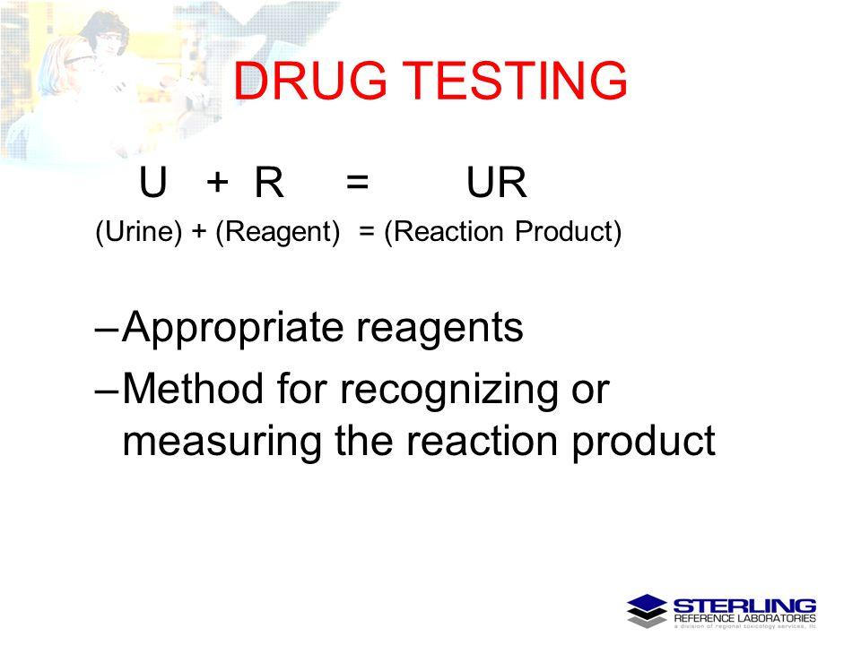 DRUG TESTING U + R = UR Appropriate reagents