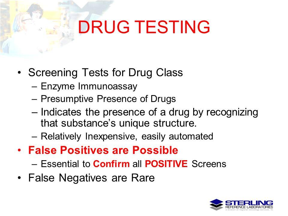 DRUG TESTING Screening Tests for Drug Class