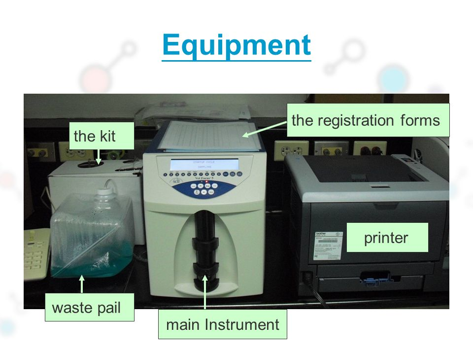 Equipment the registration forms the kit printer waste pail