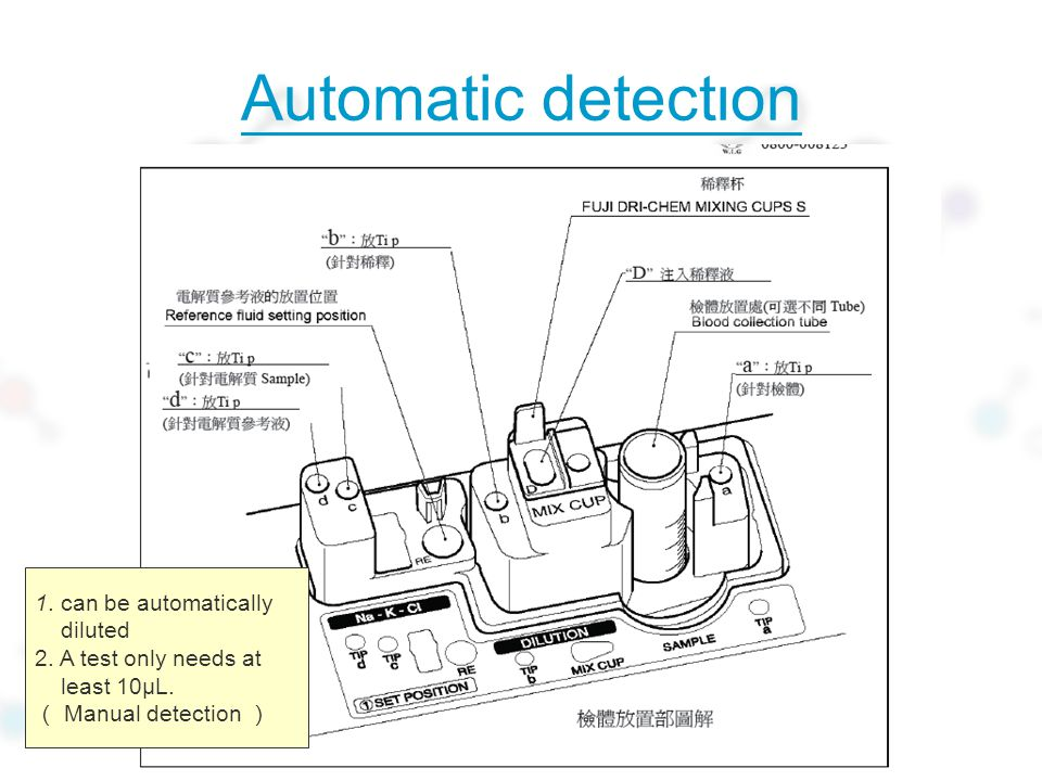 Automatic detection 1. can be automatically diluted