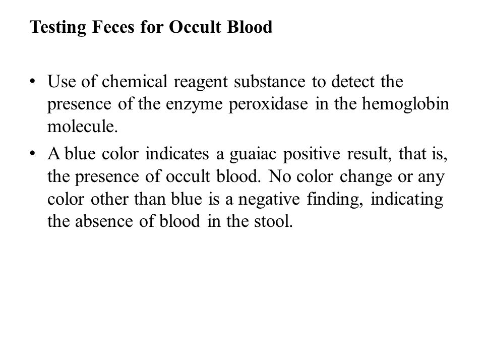 Testing Feces for Occult Blood