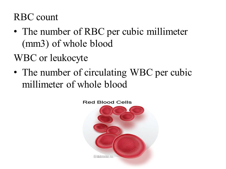 RBC count The number of RBC per cubic millimeter (mm3) of whole blood. WBC or leukocyte.