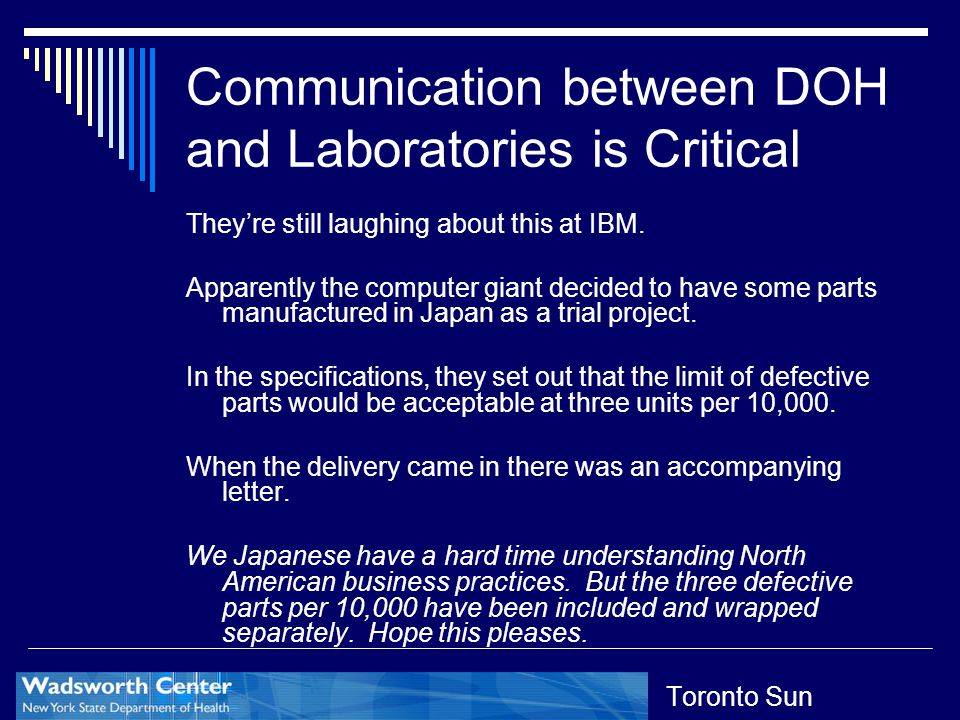 Communication between DOH and Laboratories is Critical