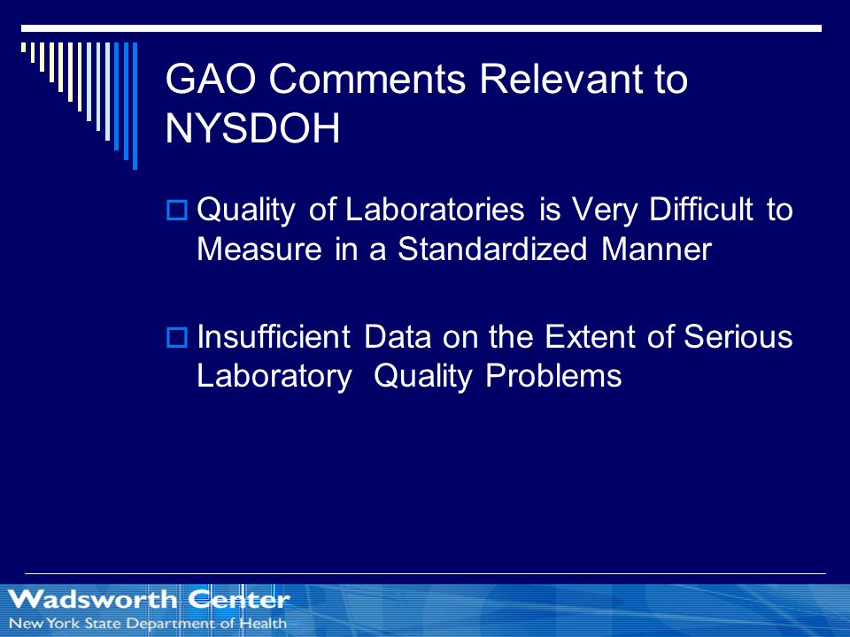 GAO Comments Relevant to NYSDOH