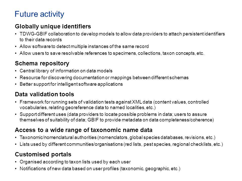 Future activity Globally unique identifiers Schema repository