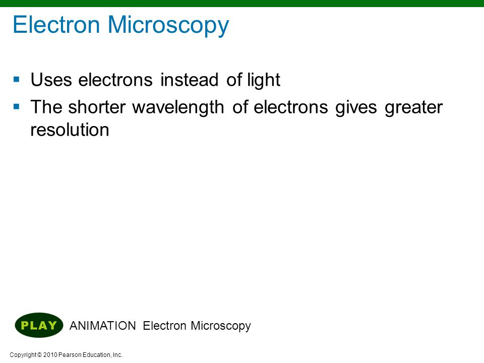 Electron Microscopy Uses electrons instead of light