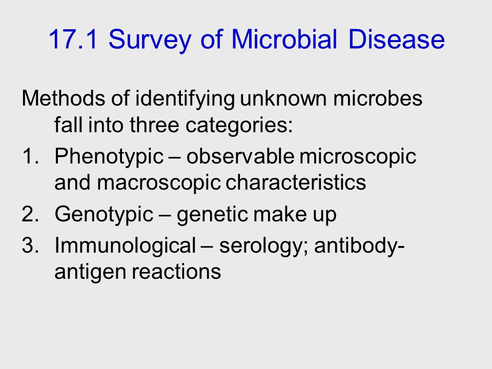 17.1 Survey of Microbial Disease
