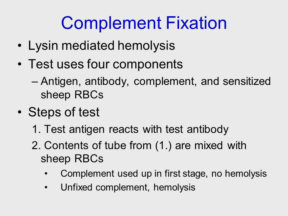 Complement Fixation Lysin mediated hemolysis Test uses four components