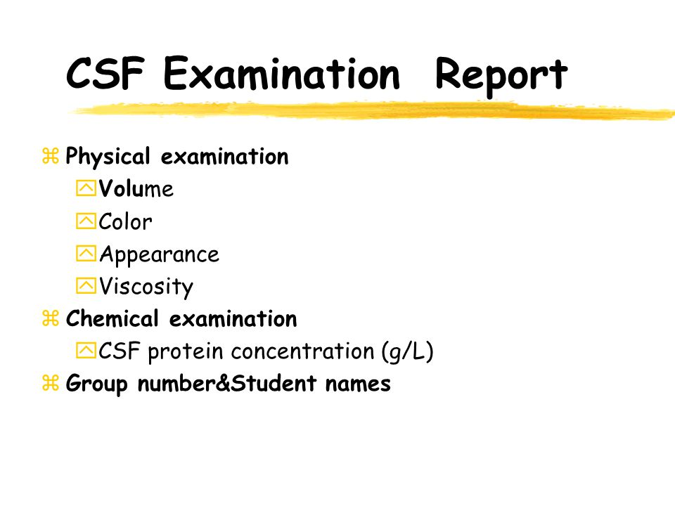 CSF Examination Report