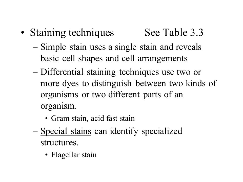 Staining techniques See Table 3.3