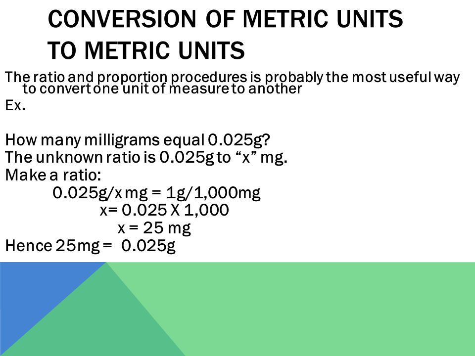 Conversion of Metric Units to Metric Units