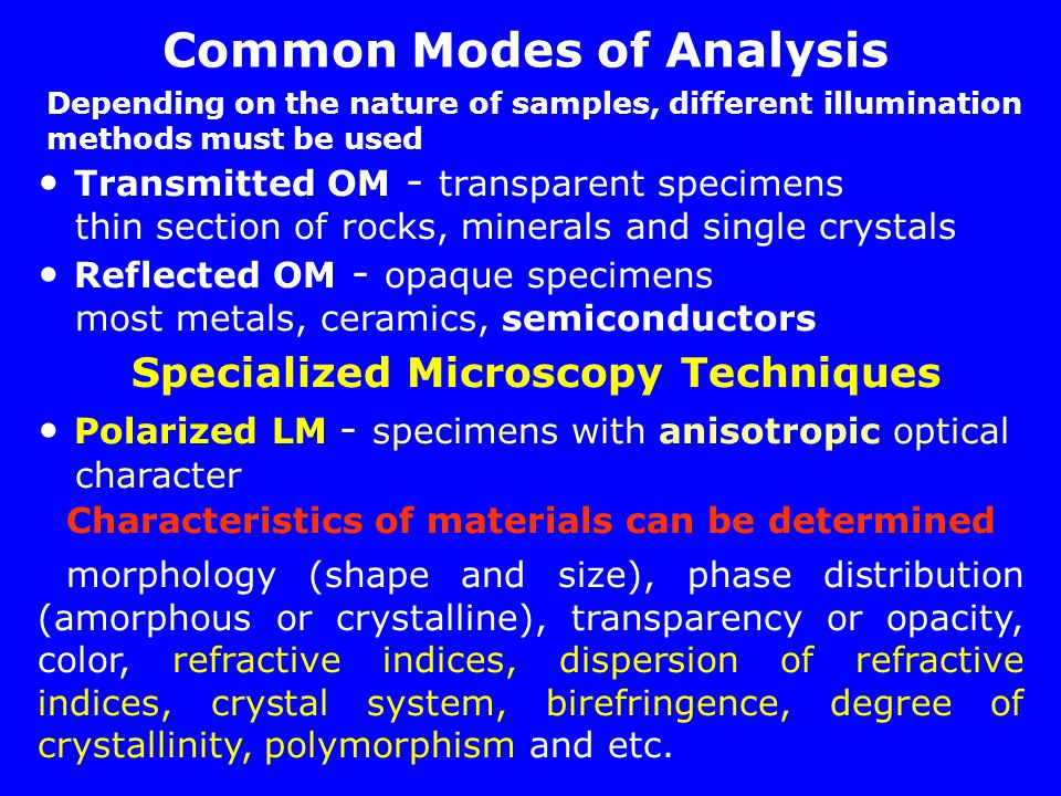 Common Modes of Analysis