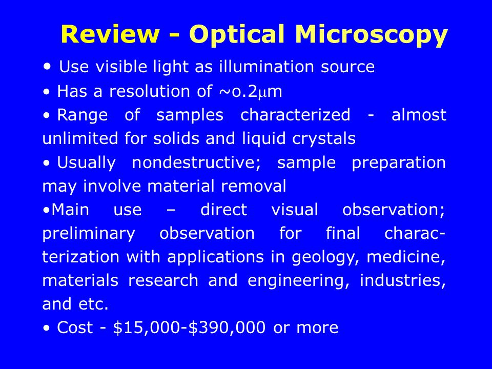 Review - Optical Microscopy