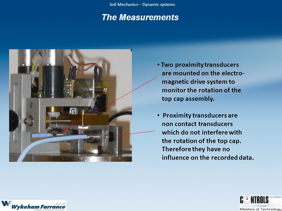 The Measurements Two proximity transducers are mounted on the electro-
