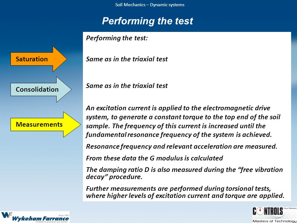 Performing the test Performing the test: Same as in the triaxial test