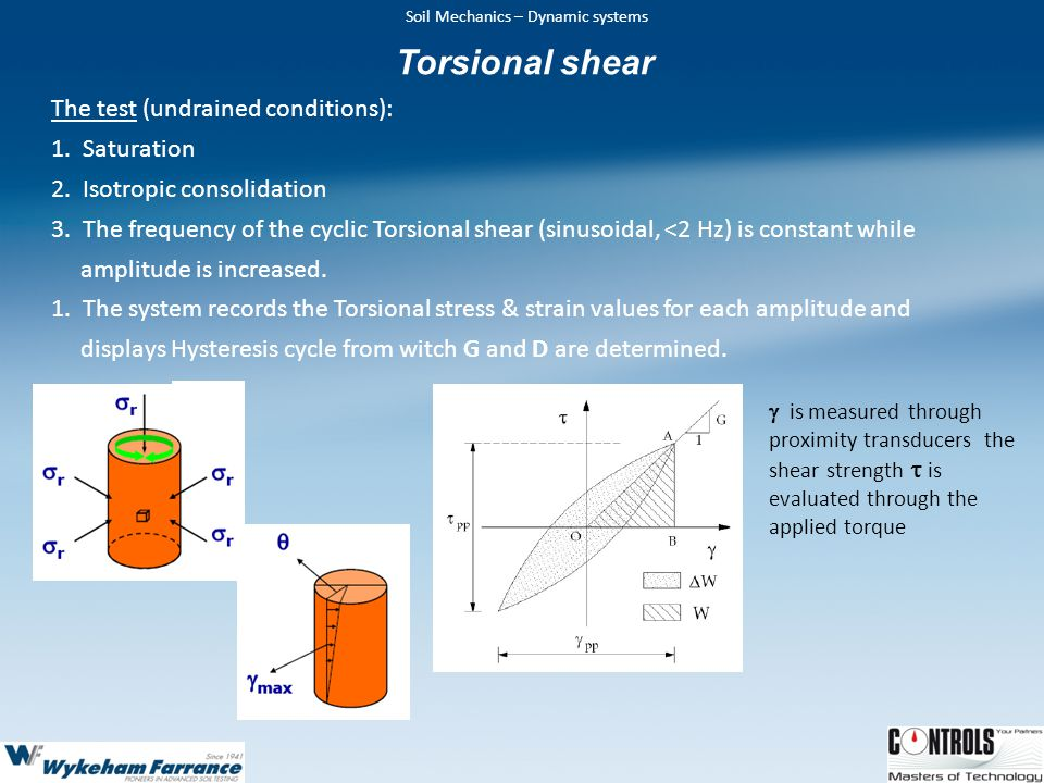 Torsional shear The test (undrained conditions): Saturation