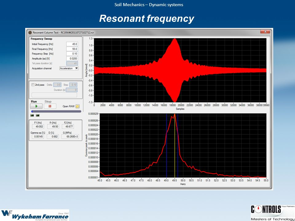 Resonant frequency From the frequency sweep graph the fundamental resonant frequency and Modulus of damping can be determined.