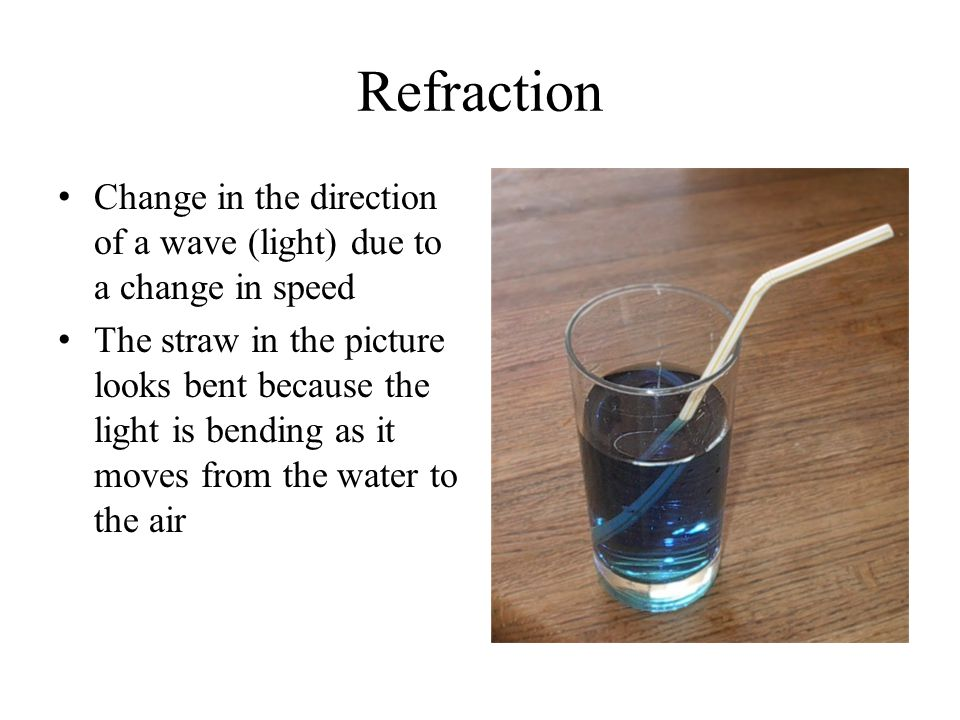 Refraction Change in the direction of a wave (light) due to a change in speed.