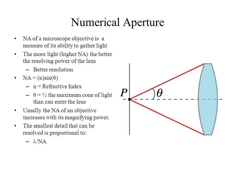 Numerical Aperture NA of a microscope objective is a measure of its ability to gather light.