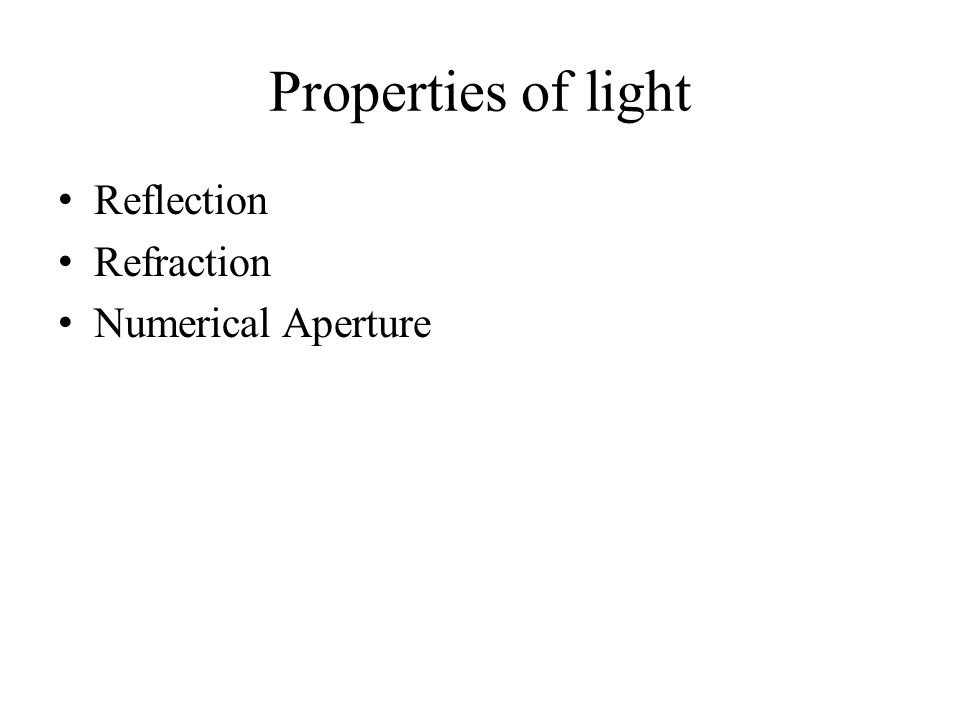 Properties of light Reflection Refraction Numerical Aperture