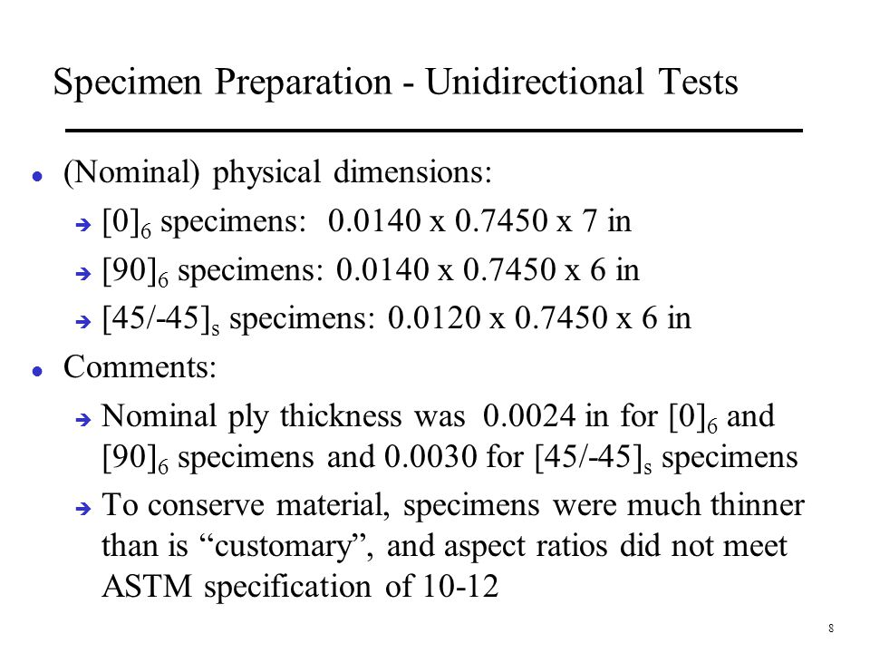 Specimen Preparation - Unidirectional Tests
