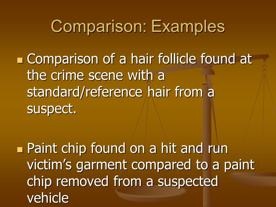 Comparison: Examples Comparison of a hair follicle found at the crime scene with a standard/reference hair from a suspect.